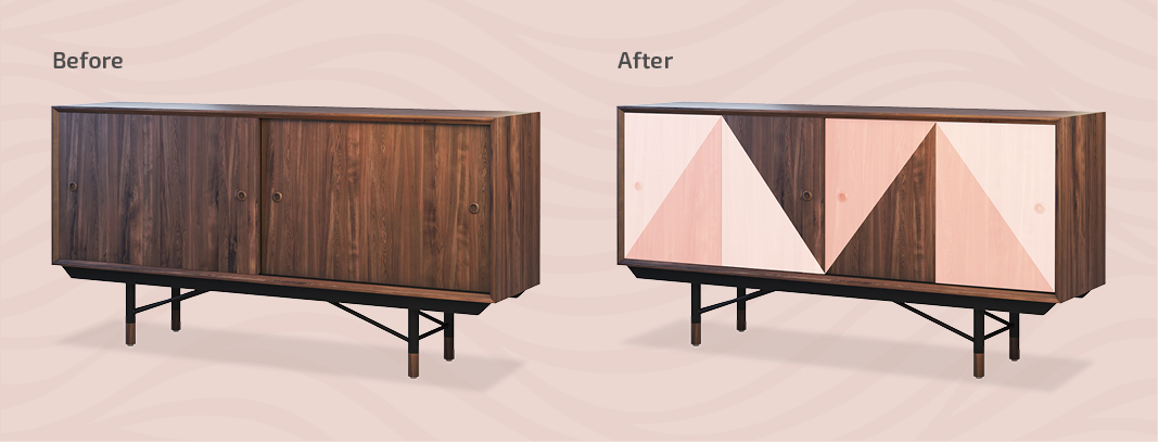 Before and After Upcycled Cabinet